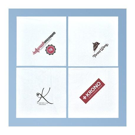 Lautasliina logolla 33*33 cm, valkoinen 3ply, 1/4