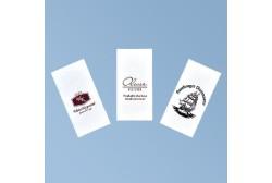 Lautasliina logolla 33*33 cm, valkoinen 3ply, 1/8