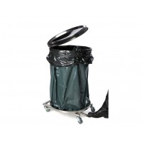 Round garbage sack holder with lid 110L, brushed stainless steel