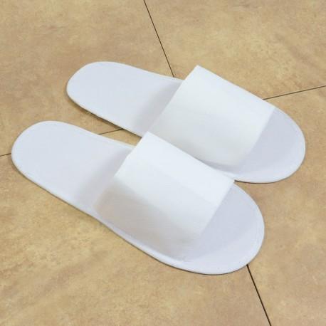 Kangaspäälliset tohvelit, avoin jalkaterä (kangas pohja)